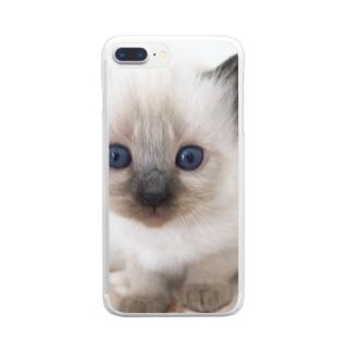 幸の眼差し Clear smartphone cases