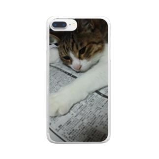 のびのびネコネコ Clear smartphone cases