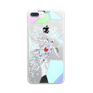 手描き亀さん Clear smartphone cases