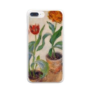 クロード・モネ / 1883 / Three Pots of Tulips / Claude Monet Clear smartphone cases