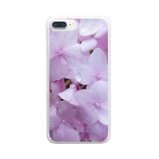 ピンクの紫陽花。 Clear smartphone cases
