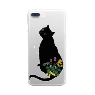 花と黒猫 Clear smartphone cases