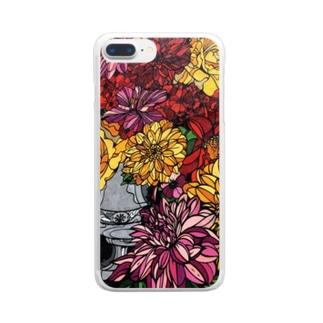 お花の壁 Clear smartphone cases