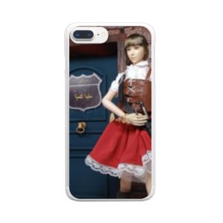 人形写真:冒険者ギルド「銀の船」の前に立つ美少女冒険者 Doll picture: Pretty adventurer at the guild Clear smartphone cases