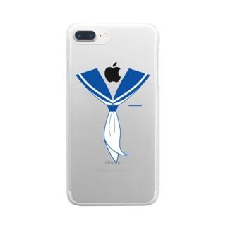 illust_designs_labのセーラー服 青 Clear smartphone cases