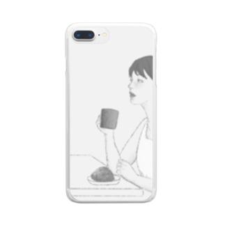 コーヒーを飲む女性(モノトーン) Clear smartphone cases