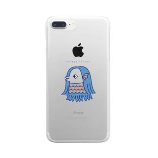 アマビエ・ブルー Clear smartphone cases