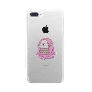 アマビエ・ピンク Clear smartphone cases