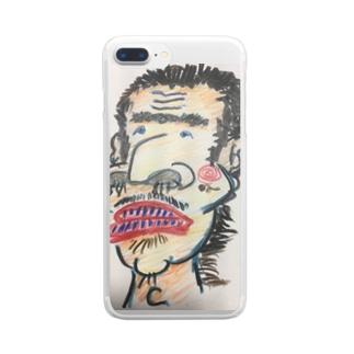 鼻毛おじさんスマホケース Clear smartphone cases