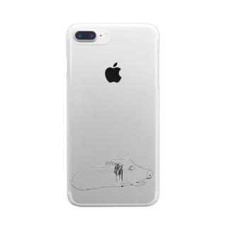膝上テレビ見の犬 Clear smartphone cases