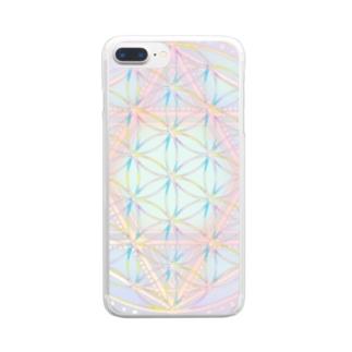 Rainbow Flower of Life & Hexagram Clear smartphone cases