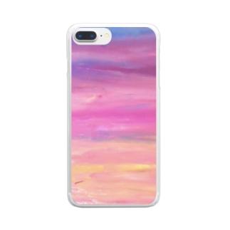 夕焼け絵の具パープル Clear smartphone cases
