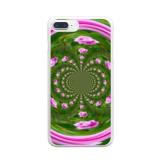 ぐるぐる桃花 Clear smartphone cases