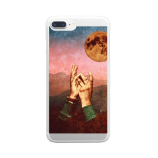 hand in moon Clear smartphone cases
