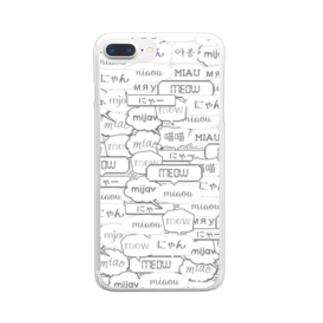 ワールドワイドにゃー Clear smartphone cases