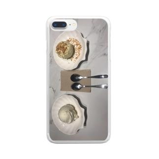 バニラアイスとココナツアイス Clear smartphone cases