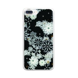 つまみ細工紋様 月白×墨色 Clear smartphone cases