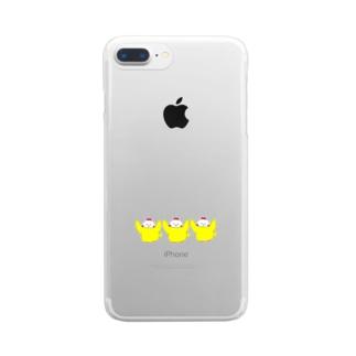 3連ひよこ(にわとり) Clear smartphone cases