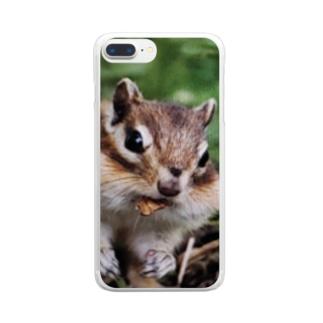 【にこらび】笑顔広がる毎日にサロベツのシマリスくん Clear smartphone cases
