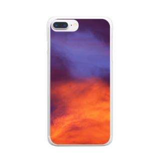 夕焼け空 Clear smartphone cases
