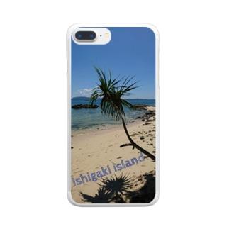 石垣島のビーチ ヤシの木 Clear smartphone cases