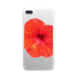 ハイビスカス・レッド① Clear smartphone cases