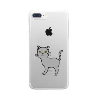 おさんぽこねこ(グレー) Clear smartphone cases