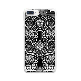 鵺 門 トライバル Clear smartphone cases