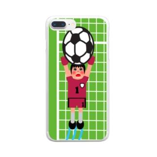 シュートに飛びつくキーパー(縦) Clear smartphone cases
