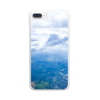 雲と森と街 空 Clear smartphone cases