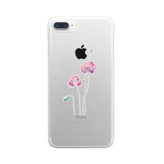 ポピーと虫(kitsuneのポップアートシリーズ) Clear smartphone cases