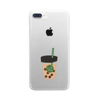 タピオカミルクティー Clear smartphone cases