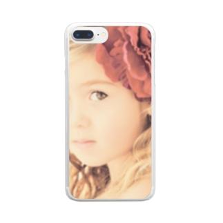 セピアなフラワーガール Clear smartphone cases
