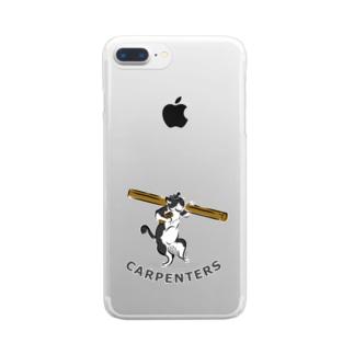 棟梁はちわれ猫の鳥獣人物戯画風スマホケース Clear smartphone cases