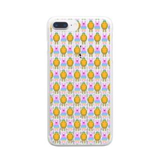 ドット絵ウサギとカメ Clear smartphone cases