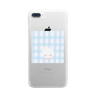 inomalのギンガムうさちゃん Clear smartphone cases