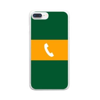 八久人工房。の沿線電話(白-電話マーク) スマホケース Clear smartphone cases