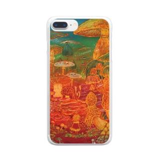 スマホケース-キノコの旅- Clear smartphone cases