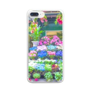 紫陽花 雨の日 アジサイ Clear smartphone cases