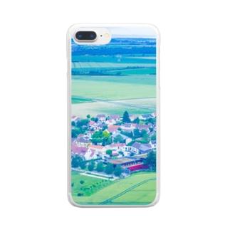 三角屋根の家と緑 風景 Clear smartphone cases