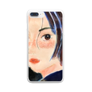 見つめるおんな Clear smartphone cases