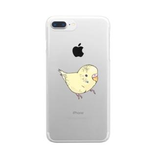 まめるりはことりの可愛いセキセイインコ おすましちゃん【まめるりはことり】 Clear smartphone cases