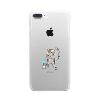 かき氷食べたいにゃん Clear smartphone cases