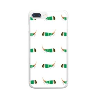 テングビワハゴロモちゃんたくさん携帯カバー Clear smartphone cases