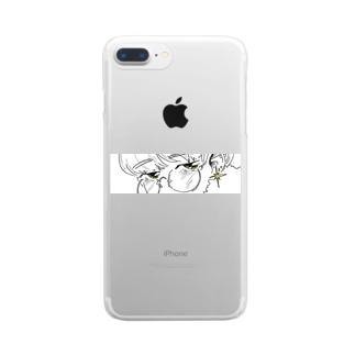 じろっと三白眼ちゃん Clear smartphone cases