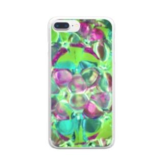 万華鏡 グリーン Clear smartphone cases