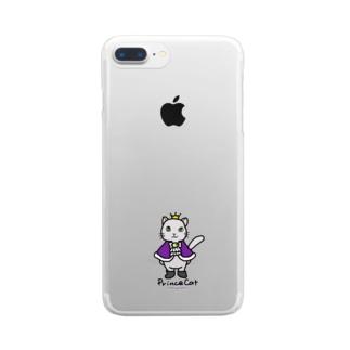 ねこの王子様*紫 Clear smartphone cases
