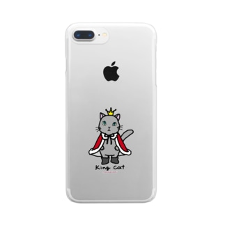ねこの王様*赤 Clear smartphone cases