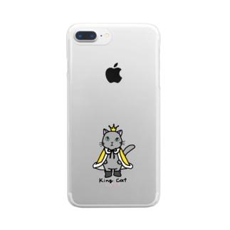 ねこの王様*黄 Clear smartphone cases