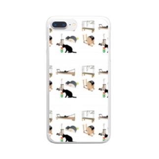 猫とピラティス Clear smartphone cases